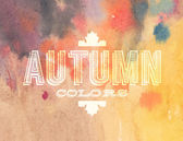 Vector autumn label on watercolor background — Stock Vector