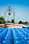 Chairs before a concert in a park — Stock Photo