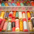 Box of colorful threads — Stock Photo