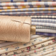 Thread and needle for patchwork - Stock Photo