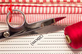 Tools for patchwork red — Stock Photo