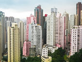 Skycrapers pink and white in Hong Kong — Stock Photo