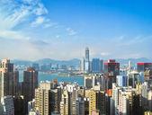 Güneş 3 ile hong kong skycrapers — Stok fotoğraf