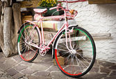 Pink bicycle of Tour of Italy — Stock Photo