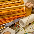 Tools for patchwork in yellow — Stock Photo