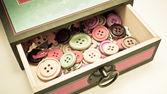Vintage caixa de botões — Fotografia Stock