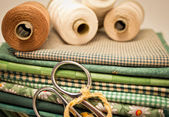 Tools for patchwork in green — Stock Photo