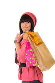 Young beautiful girl with shopping bags — Stock Photo