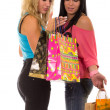 Happy girls out shopping — Stock Photo