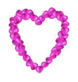 Purple rose petals in shape of heart — Stock Vector