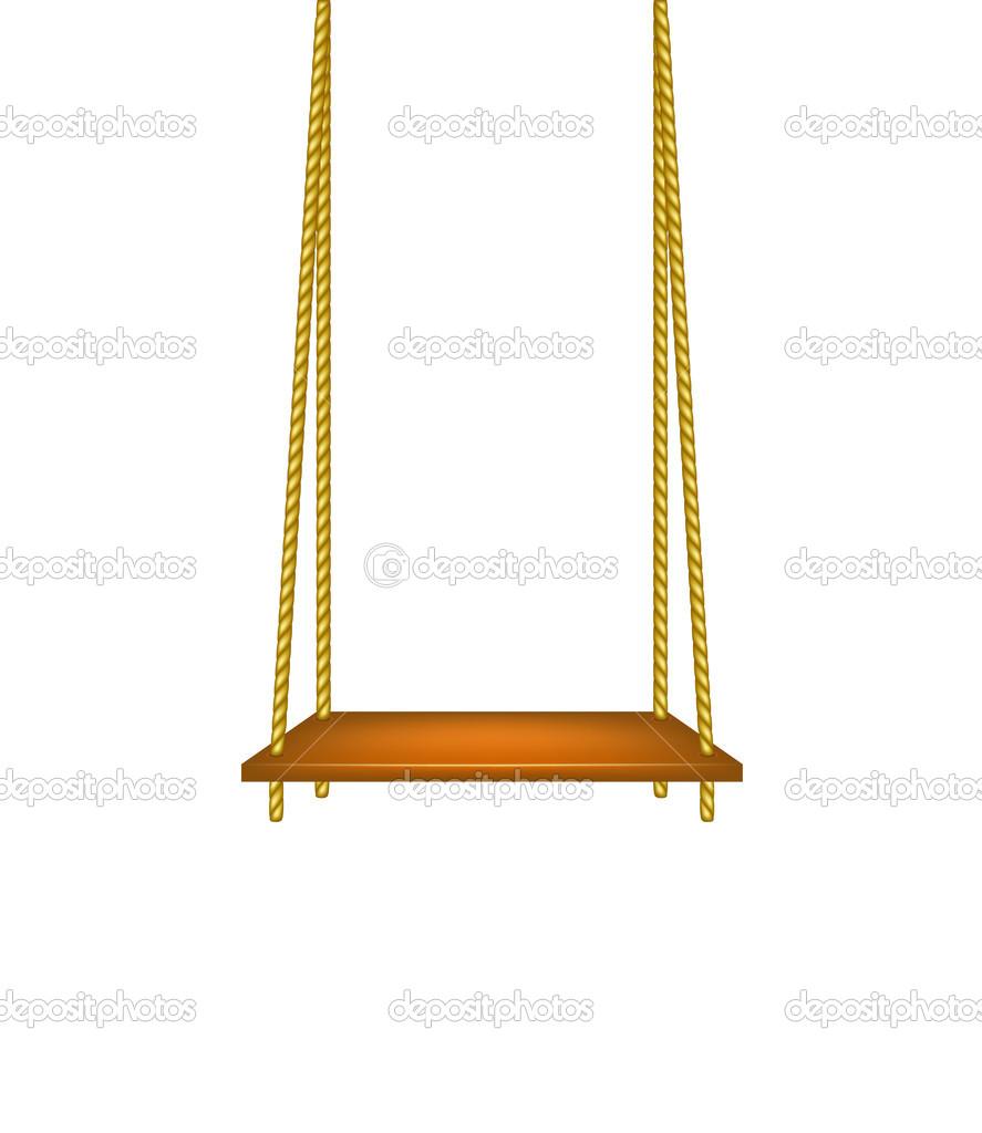 木制秋千吊在绳子上
