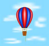 Hot air balloon flying on blue sky — Stock Vector