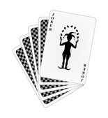 Black back side of playing cards and joker — Stock Vector