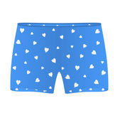 Mens boxer shorts with white hearts — Stock Vector