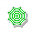 Stock Vector: Green and white striped beach umbrella