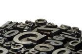 Slumpmässiga arrangemang av boktryck bly bokstäver — Stockfoto