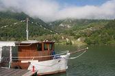 Motor ship at river Drina — Stock Photo