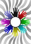 Farben-hände — Stockvektor