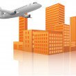 Royalty-Free Stock Vector Image: Airplane city
