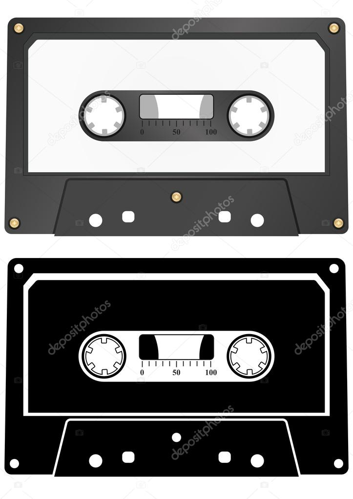 Illustration of audio tape cassette with blank sticker — Stock Vector #14684061