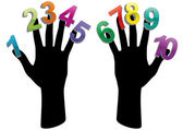 Hand numbers — Stock Vector