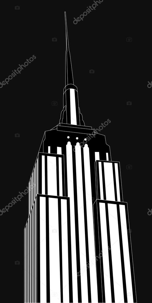 Illustration of empire state building, black and white — Stock Vector #15471213