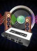 Audio tape cassette — Stock Vector