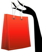 Shopper in hand — Vector de stock