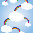 Clouds linked rainbows — Stock Vector