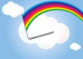 Cloud laptop — Stock Vector