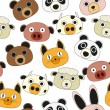 Animal face seamless pattern — Stock Vector