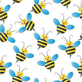 Bee seamless pattern — Stock Vector