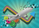 Airplane color graphic — Stock Vector