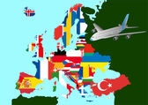 Europa vliegtuig — Stockvector
