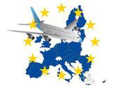 самолет европа — Cтоковый вектор