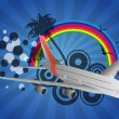 Airplane rainbow — Stock Vector #24988423