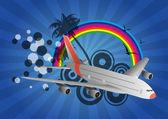 Airplane rainbow — Stock Vector
