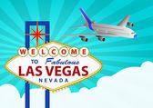 Las vegas and airplane — Stock Vector
