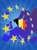 Belgium in europe — Stock Vector