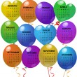 Stock Vector: 2014 balloon calendar