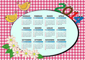 2014 bird calendar — Stock Vector