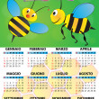 Stock Vector: 2014 bee calendar