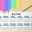 2014 calendar pencil, italian — Stock Vector