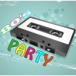 Tape cassette party — Stock Vector