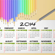 2014 calendar pencil — Stock Vector