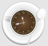 Coffee cup clock — Stockvector
