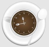 Coffee cup clock — Stock Vector