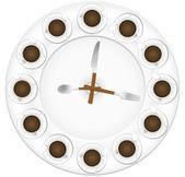 Coffee cup clock — Vector de stock