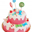 Pink birthday cake — Stock Photo