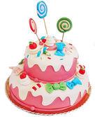 Pembe doğum günü pastası — Stok fotoğraf